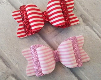 Candy stripes glitter hair bow
