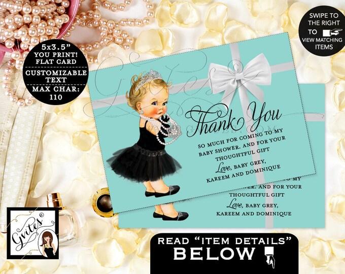 "Baby and Co Baby Shower Thank You Cards, Breakfast at baby and co baby shower DIGITAL {3.5x5"" 4 Per/Sheet}"