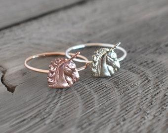 Unicorn Ring, Unicorn Knuckle Ring, Knuckle ring, Layering Ring, Rose gold Ring, Midi Ring, Stacking ring, Silver Unicorn ring, silver stack
