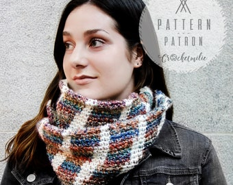 CROCHET PATTERN #029---Striped infinity cowl