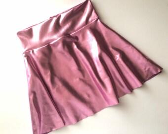 Girls Metallic Dusty Rose pink twirl skirt 6 9 12 18 24 months 2T 3T 4T 5T 5 6 7 8 9 10 11 12 Baby Toddler Kids circle skirt Skater skirt