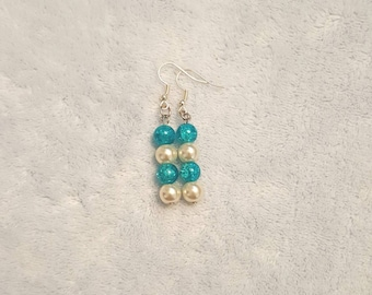 Blue and white glass pearl beaded dangle earrings