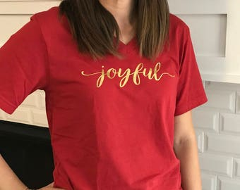 JOYFUL Bella+Canvas UNISEX Vneck tshirt, Christmas shirt