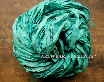 Pure Sari Silk, Aquamarine, Per Yard, Recycled Sari Silk, Fair Trade, Fabric, Ribbon, Yarn, Silk, ArtWear Elements, 303
