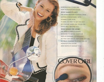 1993 Advertisement Cover Girl Niki Taylor Model Nonstop Eye Color Shadow Makeup Cosmetics 90s Beauty Style Products Wall Art Decor