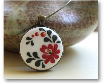 Flower Jewelry- Hungarian embroidery pattern, polymer clay Jewelry- Red Flower Pendant- Red and White Pendant
