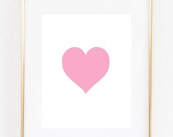 8x10 - Pink heart - Art Print