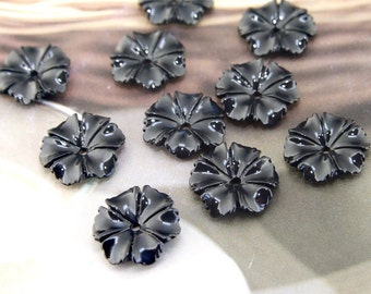 Black Resin flowers 12mm ---10Beads