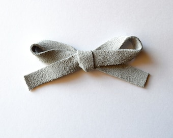 Light Grey Suede LARGE Leather Bow Clip Adorable Photo Prop for Newborn Baby Little Girl Child Adult Holiday Headwrap Bow