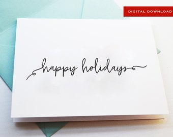 Black and White Printable Happy Holidays Card, PDF download, Digital Card, instant holiday card for office part, instant secret santa card