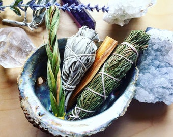 Sacred Medicine Smudge Kit | Cedar, White Sage, Palo Santo, + Sweetgrass in Abalone Shell