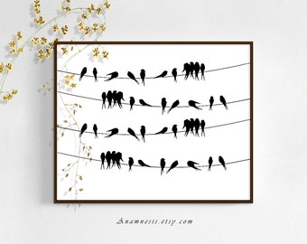 BIRDS ON A WIRE - digital download - printable graphic bird vintage image by Anamnesis - image transfer - totes, pillows, prints, clothes