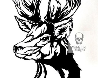 Stag Head Paper Cutting Template Gothic for Personal or Commercial Use Papercut Cut Wildchild Designs Woodland Hunting Forest Spirit Guide