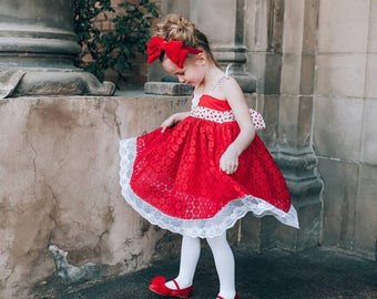 Ruby Valentine's Day Dress - Pink PomPon - Valentine's girls dress, baby girl valentine dress, toddler heart dress, sweetheart pageant dress