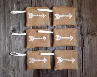 6 Boho Wedding Wristlets, Romantic Wedding, Monogram Bag, Arrow Clutch, Boho Bridesmaid Gift, Woodland Wedding, Rustic Wedding, Lace Wedding