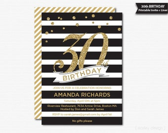 Gold and Black 30th Birthday Printable Invitation Milestone Birthday DIY Invite Glitter Glam Black Stripes Modern Digital PDF
