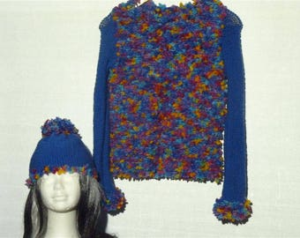 Women sweater ringlets and blue multicolored, matching Hat