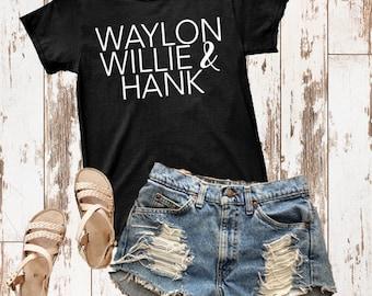 Waylon WIllie & Hank T shirt