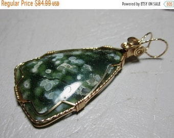 25% off OCEAN JASPER pendant, wire wrap, wire wrapped pendant, wire wrapped necklace
