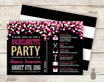 Confetti Sparkle Bachelorette Party Timeline Invitations - Colors Used: Black, White, Hot Pink, and Faux Gold Glitter