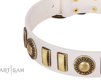 "White Leather Dog Collar with Plates - ""Bowwow Finery"" Decor by Artisan (C448) - Gold-Like Embellishments - Decorated Handmade Dog Collar"