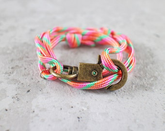 Cord Tiga - colourful candy paracord cord wrap bracelet with clasp, unisex, adjustable size, limited edition