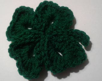 Crochet Shamrock pin, set of 4,  clover, shamrock, luck of the Irish, four leaf clover, St. Patricks day, dont get pinched, wear green, knit
