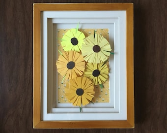 Distressed Frame with Yellow Flowers // Paper Collage Framed Picture