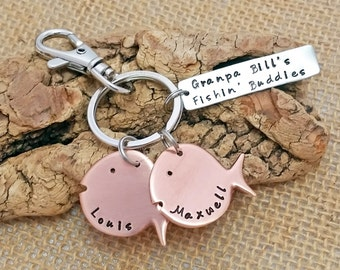 Personalized fishing key chain - Dad key chain - Grandpa Key chain - Dad's fishin' buddies, fish themed key chain, Fishing Buddy