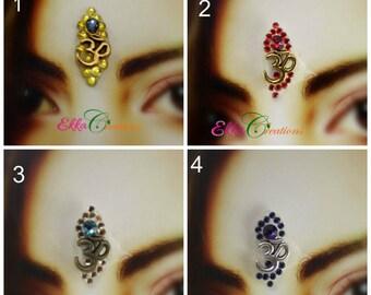 OM bindi/Gold and blue bindi/bindi face jewels/Red bindi/Ultramarine blue OM bindi/Tribal Belly Dance/Reusable Forehead  bindi/bindi