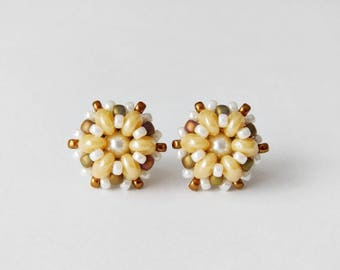 Stud earrings, post earrings, beadwork earrings, small earrings, seed bead earrings, fashion earrings, office jewelry