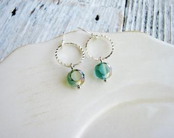 Seafoam Glass Bead Earrings, Round Link Earrings, Glass Bead Earrings, Green Czech Glass Earrings, Modern Earrings, Silver Earrings