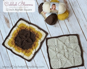 """Crochet Pattern: Cabled Blooms 12"""" Afghan Square **Permission to Sell Finished Items INSTANT DOWNLOAD"""