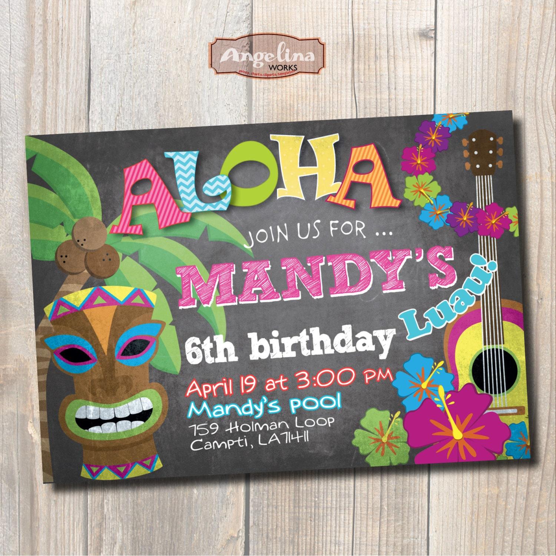 Luau birthday invitation hawaiian party chalkboard diy zoom stopboris Image collections