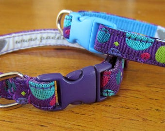 Purple Bubble Brocade Dog Collars - small dogs / puppies / teacup or tiny dogs