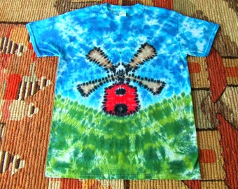 Adult Medium Tie Dye T-shirt - Windmill - Dutch- Holland - Ready to Ship