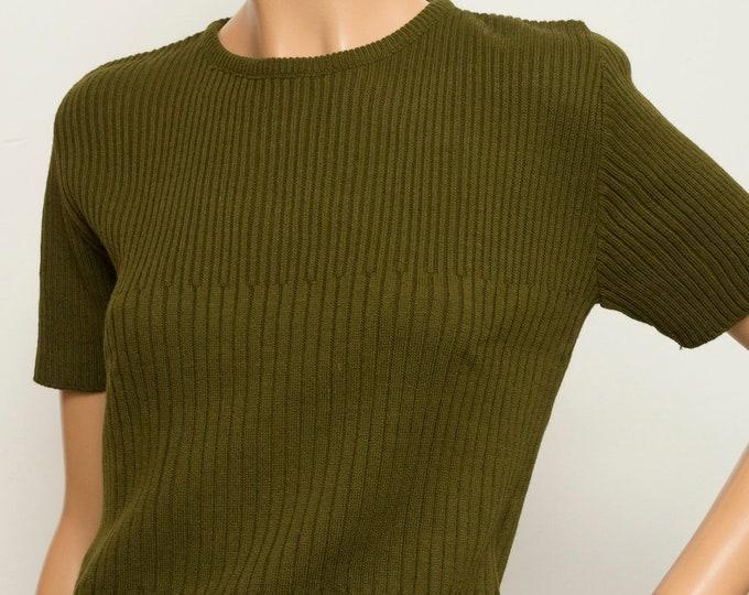 ribbed Vintage 90s dark green sweater deadstock