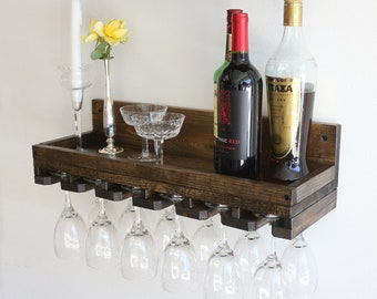 "24"" Rustic Wood Wine Rack Shelf with Hanging Stemware Glass Holder Bar Organizer Wall"