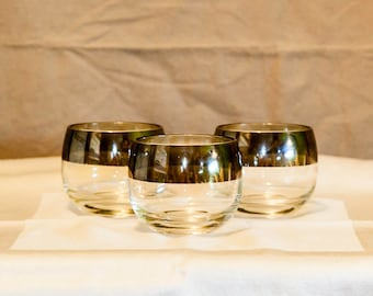 Mid Century Modern Roly Poly Glasses, Wide Silver Band, Dorothy Thorpe Style, Mad Men, Set of 3, Whiskey Glasses