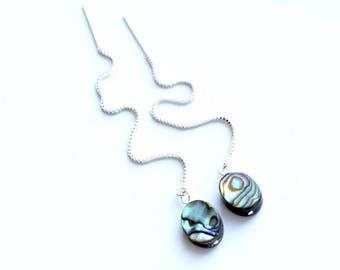 Abalone Earrings, Sterling Silver Threader Earrings, Long Chain Earrings, Paua Shell Jewelry, Natural Earrings, Bridesmaid Earrings