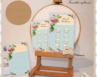 Pretty Vintage style Blue button cards digital download