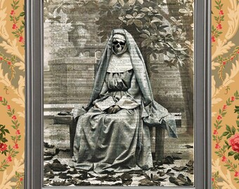 French Nun in the Park with Skull Home Decor Antique Photo Dictionary Page Art Print Creepy Scary Gothic Halloween Upcycled Recycled