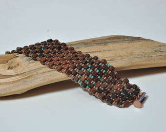 Beadwoven Wood Cuff