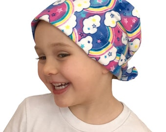 Jaye Children's Flannel Head Scarf, Girl's Cancer Hat, Chemo Head Cover, Alopecia Hat, Head Wrap, Cancer Gift, Hair Loss  -  Rainbows Clouds