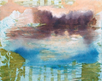 Original painting ink and collage on canvas Sunset light abstract landscape, abstract waterscape. Contemporary art