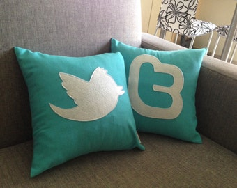 Set of 2 Twitter icon decorative pillows / cushion cases