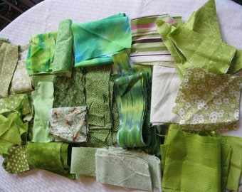 Stash-Buster Green Cotton Quilting Fabric Scraps #3