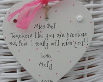 Teacher/Nursery Nurse/Childminder personalised shabby heart chic keepsake - pink polka dot