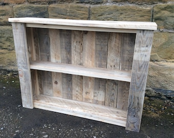 Rustic Wall Mounted Enclosed Shelving Unit made from reclaimed pallet wood.