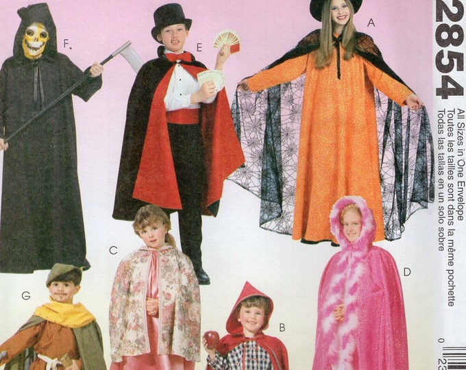 FREE US SHIP Sewing Pattern McCalls 2854 Uncut Magician Costume Witch Princess Robin Hood Red Riding Grim Reaper Uncut Size 2 4 6 8 10 12